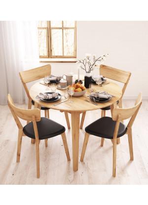 Guľatý stôl dubový 04 rozkladací